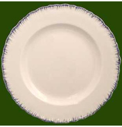 Creamware Shell Edge Soup Plate with Blue Edge