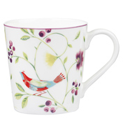 Singing Birds Chestnut Mug in White 300ml