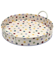 Polka Dot Large Round Tray with Handles