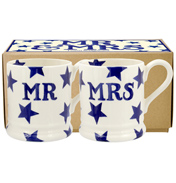 Blue Star Mr & Mrs Set of Two ½ Pint Mugs