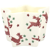 Reindeer Star Shaped Candle Holder with Candle