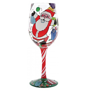 """A Claus For Celebration"" Christmas Hand Painted Wine Glass"