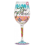 """Best Friends Always"" Hand Painted Wine Glass"