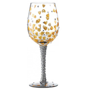 Heart of Gold Hand-Painted Wine Glass