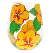 Hibiscus Stemless Wine Glass