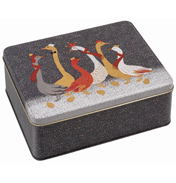 Christmas Geese Deep Rectangular Storage Tin