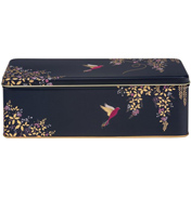 Dark Blue Birds Long Deep Rectangular Storage Tin