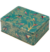Green Birds Deep Rectangular Storage Tin