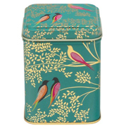 Green Birds Square Storage Tin