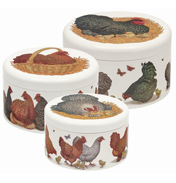 Vanessa Lubach Chickens Set of 3 Round Cake Tins